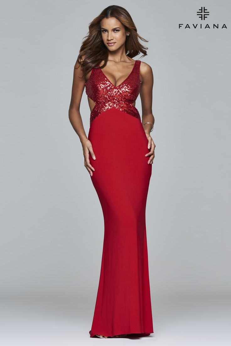 Atria 8000 asymmetrical cutout sleeve cocktail dress by atria 1 1 - Shimmering Faviana Prom Dress 7992 Will Sizzle At Your Next Social Occasion This Dazzling Gown Features A Sequined Wrap Front Bodice With V Neckline An