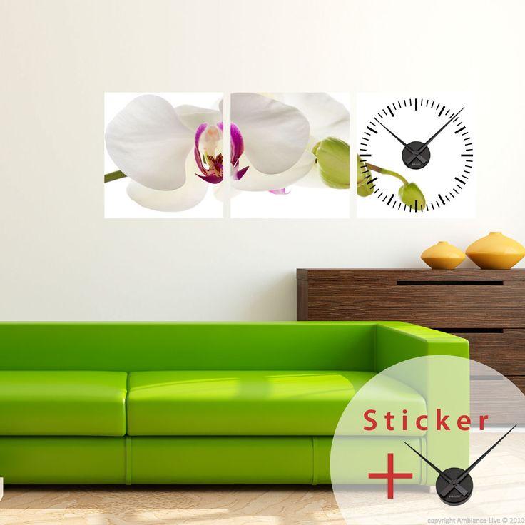 Sticker horloge L'orchidée - sticker STICKERS ORIGINAUX Stickers Horloges - Ambiance-sticker