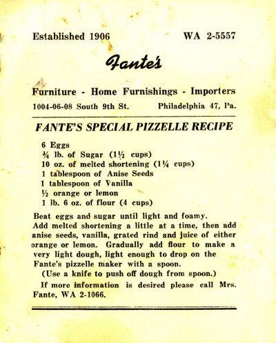 Pizzelle Recipe ... delish!