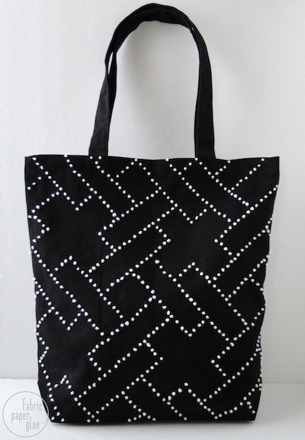 How-To: Geometric Tote Bag Embroidery. I'd do this for a smaller clutch/makeup bag