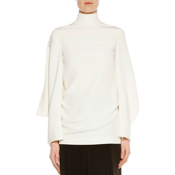 TOM FORD Stand-Collar Batwing Tunic featuring polyvore, women's fashion, clothing, tops, tunics, chalk, silk tunic, white batwing top, white pullover, white silk top and batwing sleeve tops