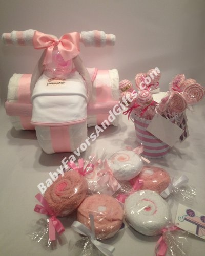 Baby shower gift ideas...WHERE TO BUY  premade gifts made out of diapers and baby clothing and toys.