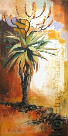 "Aloe. Oil on Stretched Canvas. 250x500mm (10x20""). $92.   To buy, contact me on my Facebook Page, ErnaWadeArt"
