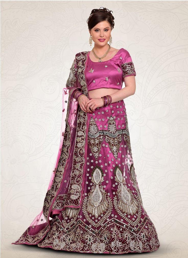 Purple Net Bridal Lehenga Choli #Lehenga #LehengaCholi #Weddingdress #Bridalwear #BridalLehengaCholi #OnlineLehengaShopping