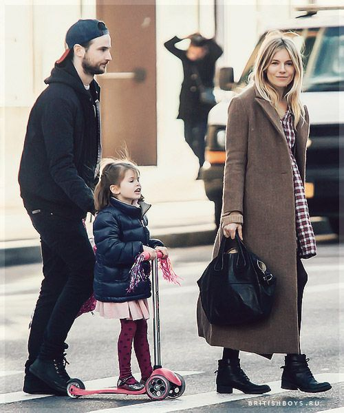Sienna Miller and Tom Sturridge taking their daughter Marlowe to play at a local playground in New York City, New York on January 10, 2017