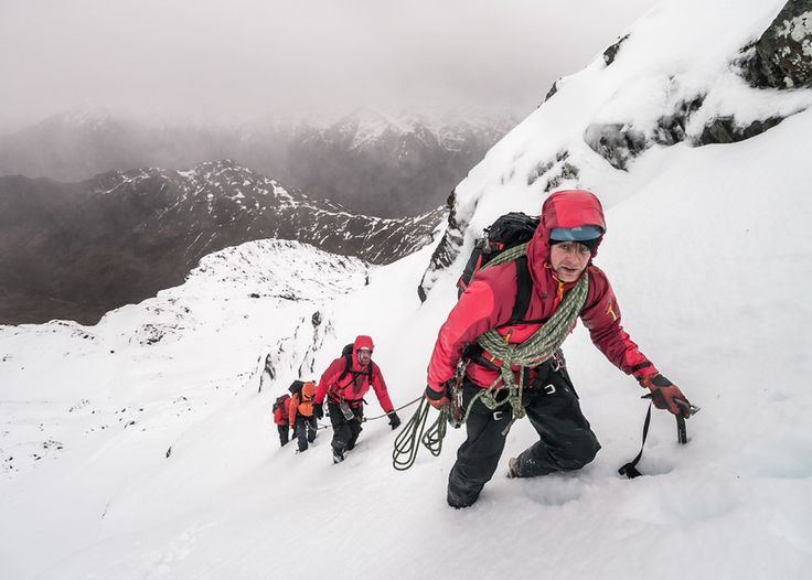 Alex Moran and clients on a classic winter day out, Forcan Ridge, NW Scotland