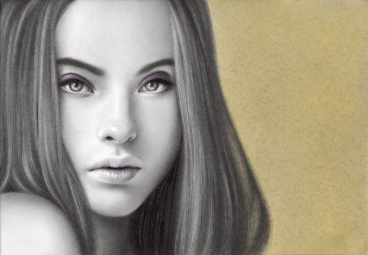 Drawing with pencil. Colored by pastel.