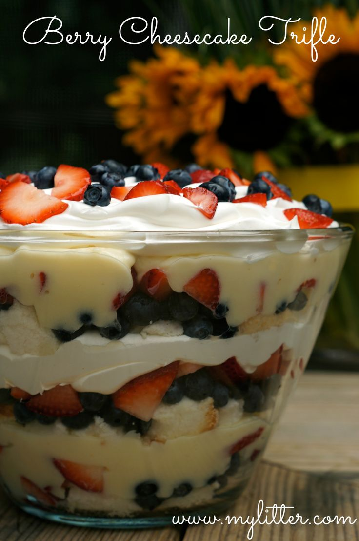 Berry Cheesecake Trifle...MIX 1 pkg cheesecake pudding w/ 1 tub Cool Whip! Layer 1/2 of cake, strawberries, blueberries, pudding/cool whip mixture & then repeat.
