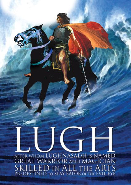 Lugh is an important god of Irish mythology. A member of the Tuatha Dé Danann, Lugh is portrayed as a youthful warrior hero, a king and saviour. He is associated with skill, crafts and the arts as well as with oaths, truth and the law. He is sometimes interpreted as a sun god, a storm god or a sky god. Lugh is also strongly associated with the harvest festival of Lughnasadh, which is named after him.