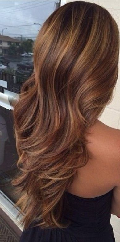 Beautiful Brunette Hair with highlights and Layers.