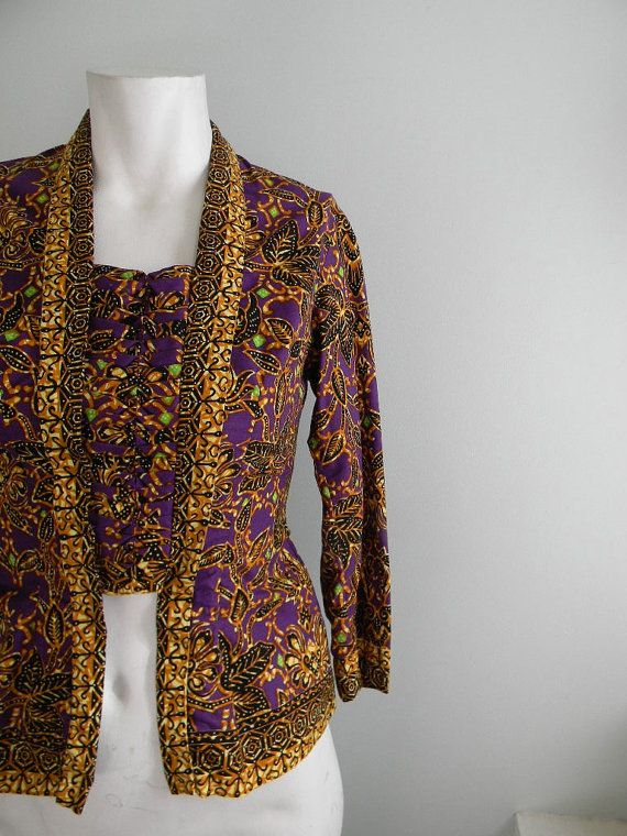vintage. Purple Batik Cotton Blouse