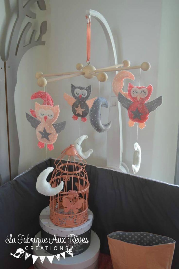 mobile bb veil chouette lune corail liberty capel gris abricot saumon dcoration chambre bb enfant