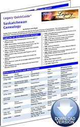 Legacy QuickGuide™: Saskatchewan Genealogy - PDF Edition. Thousands of British and East European immigrants flocked to the Canadian West in the late 19th and early 20th centuries. The Saskatchewan Genealogy Legacy QuickGuide™ contains useful information to get you started researching the middle Prairie Province including major immigrant groups, vital records, land records, military records and more. #genealogy #ebooks