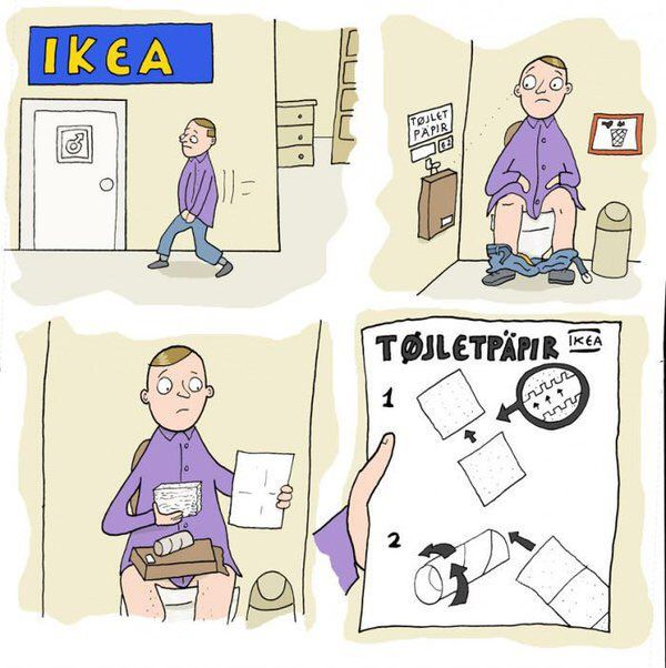 Funny IKEA Toilet Paper Cartoon