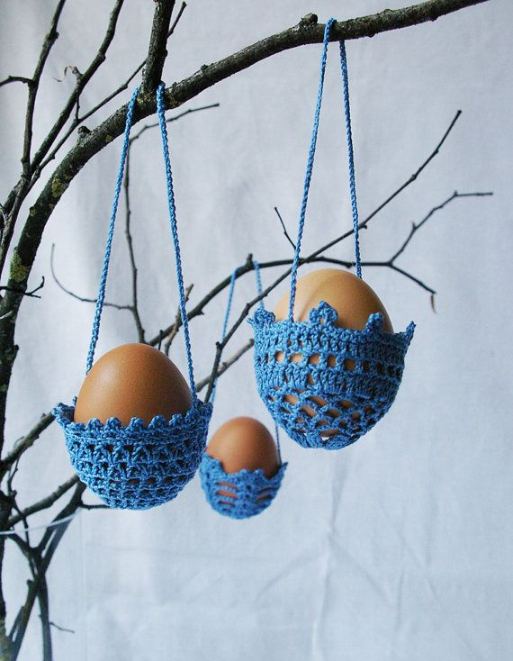 EASTER decoration - 3 hanging crochet eggs baskets BLUE