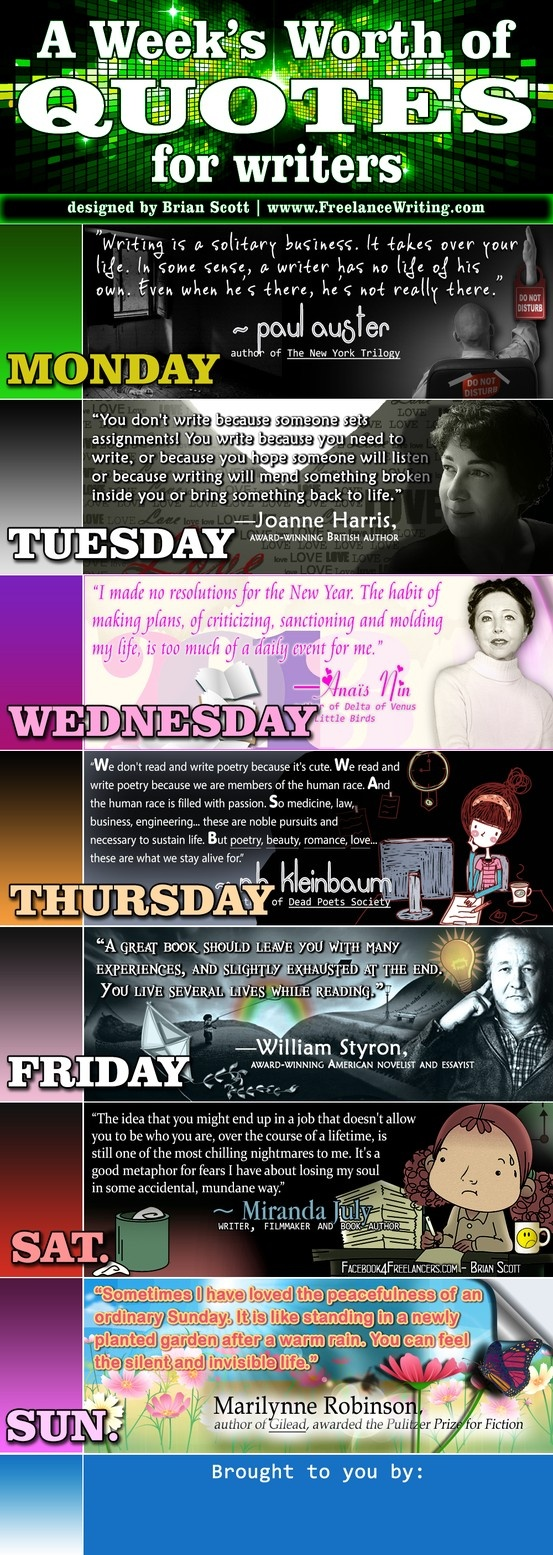A Week's Worth of Quotes for Writers (Part 2) -  7 daily quotes to inspire creative writers and freelance writers. Add your own information at the end of this infographic.  - Designed by Brian Scott, www.FreelanceWriting.com