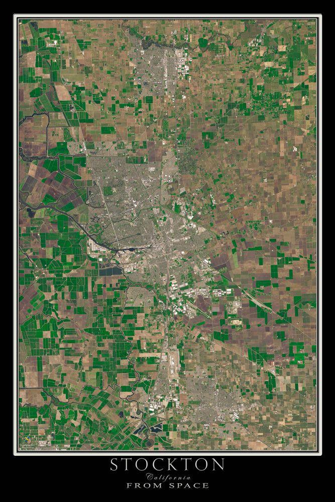 Stockton California Satellite Poster Map 44 best