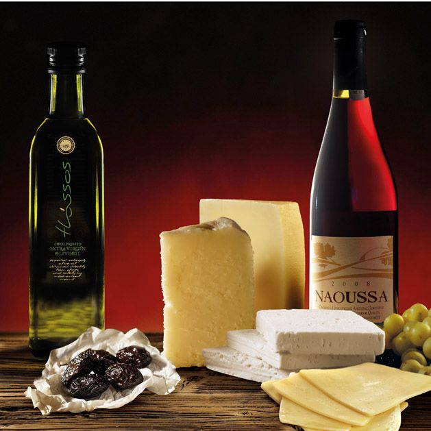 Olives and Olive Oil from Thassos, Cheese from Mytilini and Xinomavro Wine from Naoussa, Greece.