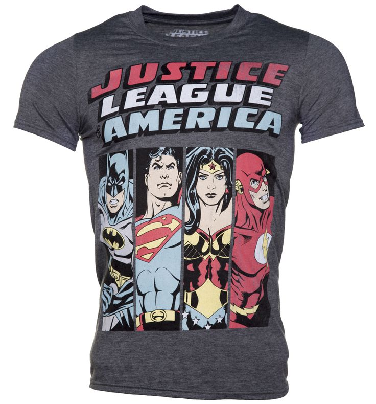 Mens Justice League Line Up DC Comics T-Shirt Made up of crime fighters and crusaders Batman, Superman, Wonder Woman and The Flash, this is not just a dream team - its a dream T-Shirt! If youre a fan of DCs Justice League and old-school comic sty http://www.MightGet.com/february-2017-3/mens-justice-league-line-up-dc-comics-t-shirt.asp