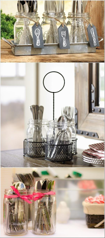 Vidros para organizar os talheres. Detalhe: etiqueta imitando quadro negro