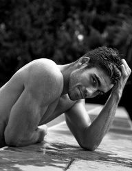 Carter's morning swim: 'Carter Price, you wicked tease,' she whispered on an exasperated hiss, her fingers trembling on the pool house's curtain.   Was it her imagination or were those skin-tight trunks doing even less to cover his package this morning?