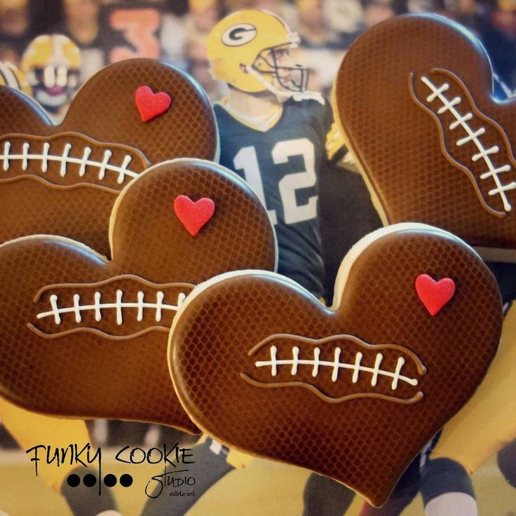 Valentines football cookies by Jill FCS