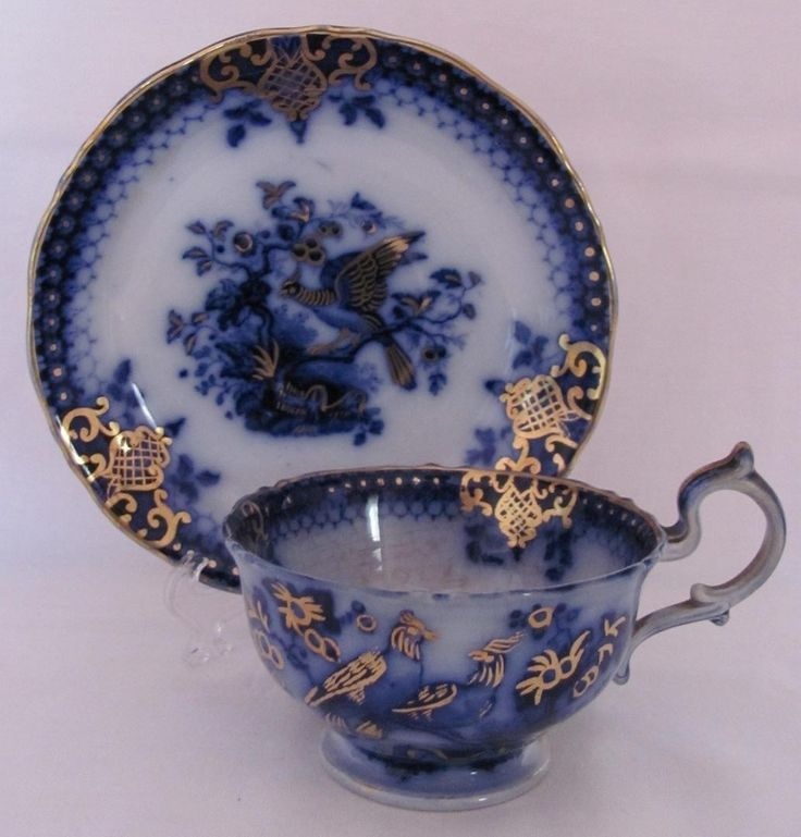 Flow Blue Cup Saucer India Pattern V&B Villeroy and Boch c.1800's Peacock | #1847142785