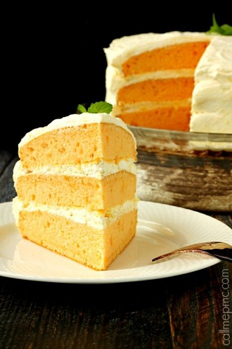 Orange Cream Cake | Cool Whip Pudding Frosting - Call Me PMc