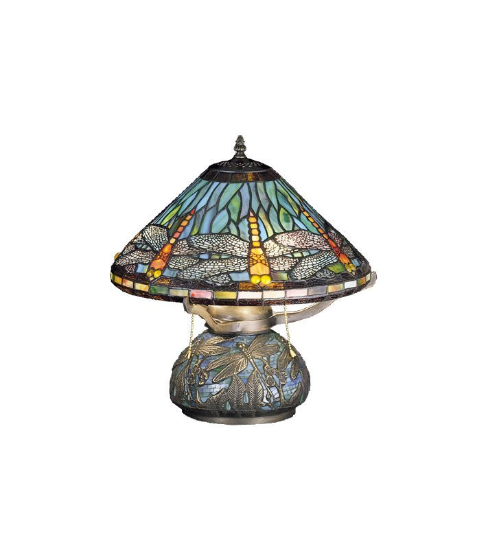Meyda Tiffany 27159 Stained Glass / Tiffany Table Lamp from the Mosaic Dragonfly Tiffany Glass Lamps Table Lamps Accent Lamps