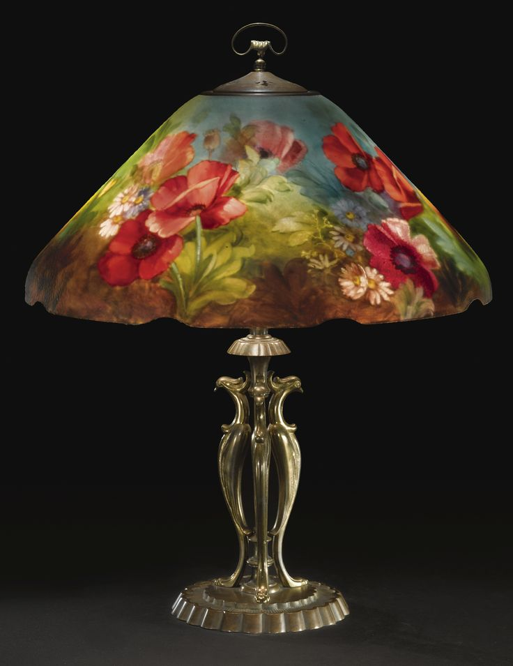 "HANDEL A FINE AND RARE ""POPPY"" TABLE LAMP, MODEL NO. 7816"