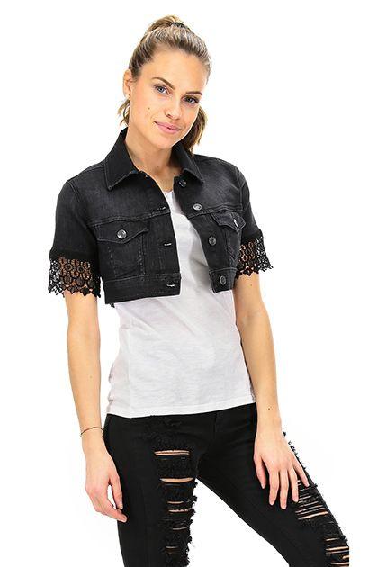 LIU.JO - Giacche - Abbigliamento - Giacca in jeans a manica corta con inserto in pizzo. Taschini sul davanti.  La nostra modella indossa la taglia /EU XS. - BLACK - € 102.46
