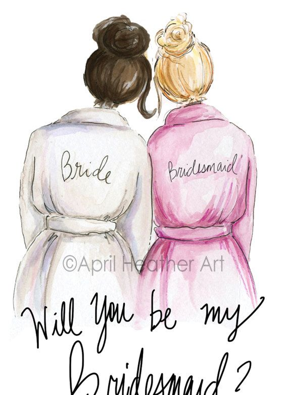 Want your blonde BFF to be your Bridesmaidr? Ask her with this lovely card! A beautiful watercolor rendering of a bride and her best gal. In this