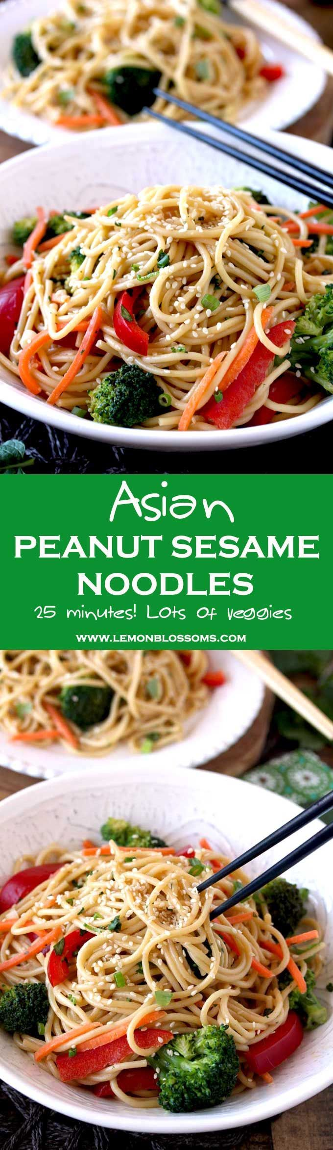 These quick and easy Asian Peanut Sesame Noodles are made in 25 minutes! Noodles, veggies and fresh herbs are tossed in the most delicious and creamy peanut sesame dressing. Perfect served hot, at room temperature or cold. Definitely a meal you will make over and over again! #Asian #Noodles #Sesame #easy #quick via @lmnblossoms