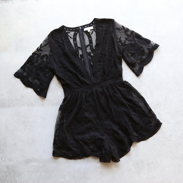 as you wish embroidered lace romper (women) - black - shophearts - 1