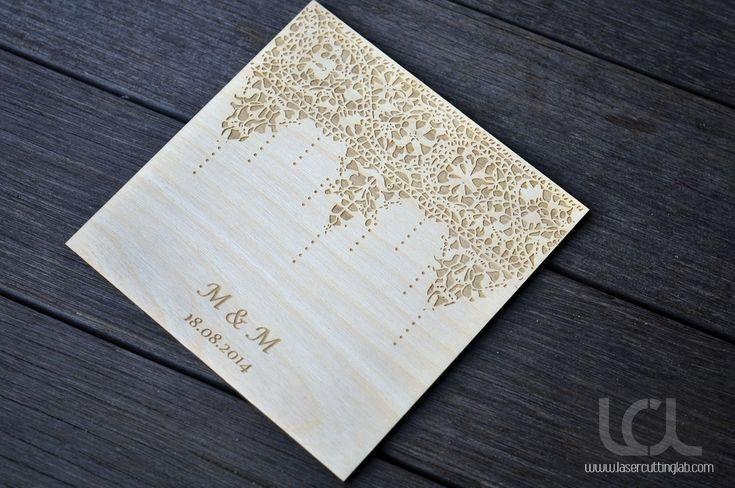 Laser Cut Wood Wedding Invitations: 20 Best Laser Cut And Engraved Wedding Invitations Images