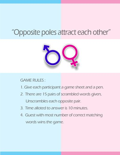 opposite poles a super fun and cute co ed wedding shower game printable j m weddingshowerbachelorette wedding shower games bridal shower