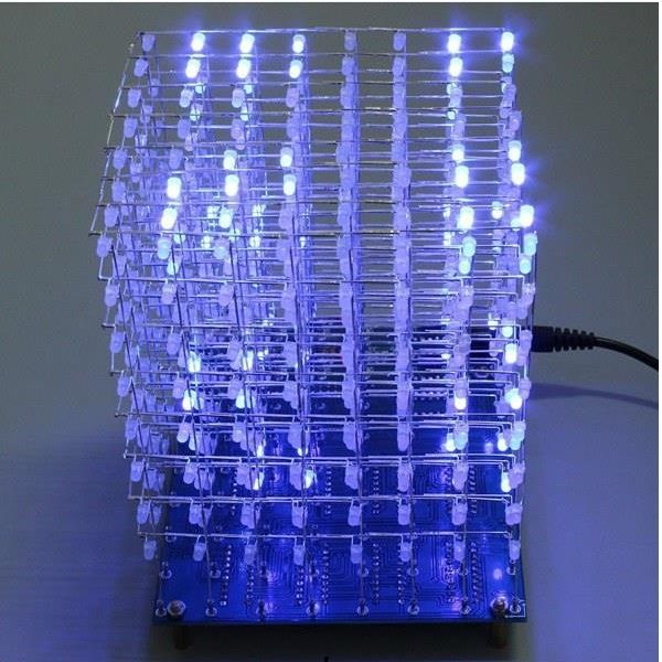 Geekcreit 8x8x8 Led Cube 3d Light Square Blue Led Electronic Diy Kit In 2020 Led Diy Led Kit 3d Led Light