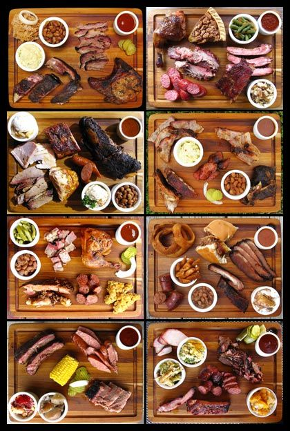 Barbecue platters down up the Texan way. Brisket, Sauage, Beef Ribs and sides. Austin's Top 10 BBQ | Fed Man Walking