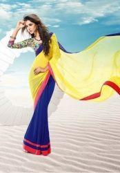 Pleasing Yellow And Blue R Rajkumar Half And Half Saree
