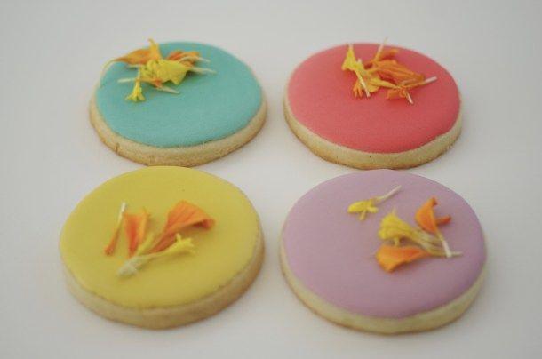 Edible flower cookies, by doctorcookies