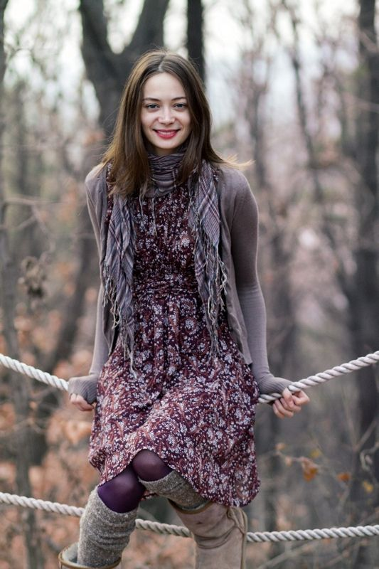 "for me this outfit is a ""summer"" autumn dream. purple and gray... perfect with pale skin, adding warmth and femaninity."