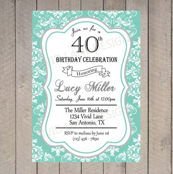 Hey, I found this really awesome Etsy listing at https://www.etsy.com/listing/164303323/adult-birthday-invitation-damask-mint