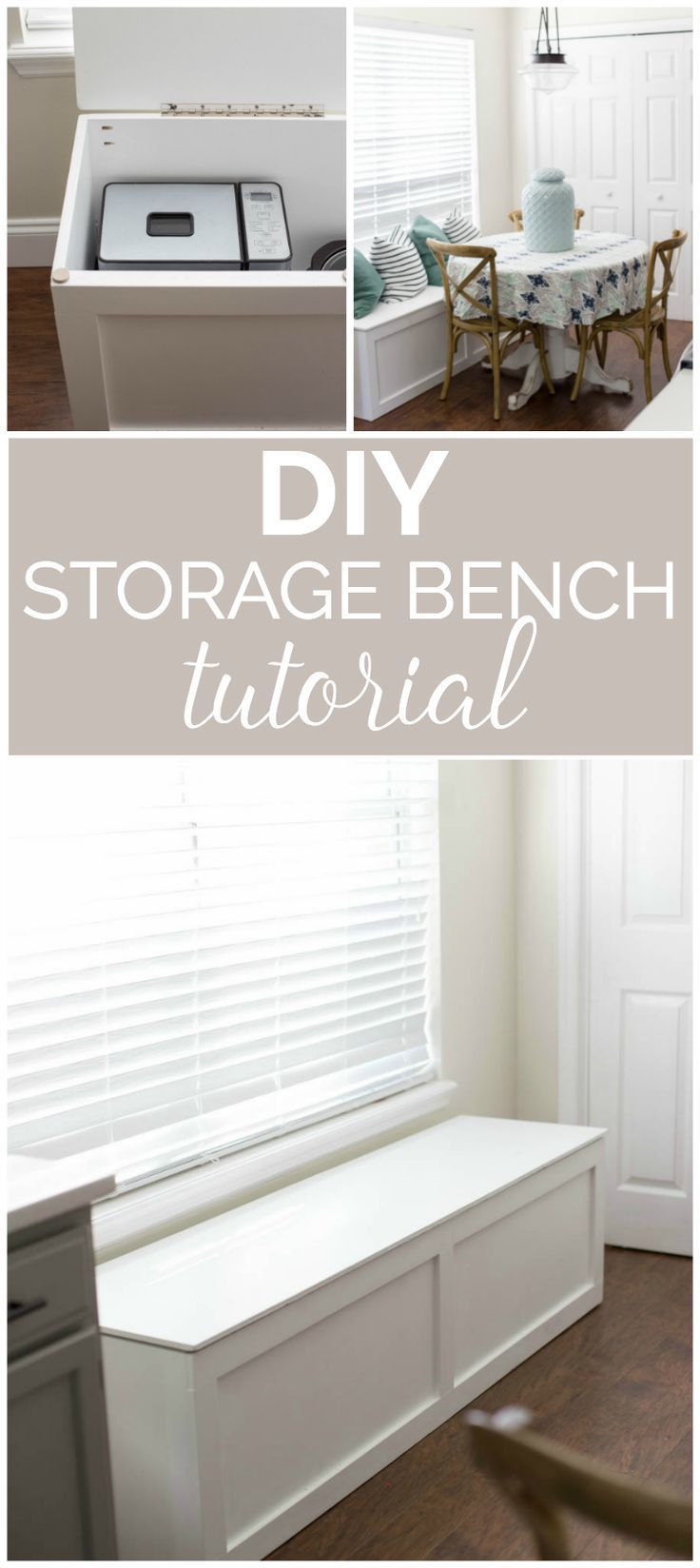 DIY Storage Bench Tutorial- How great to have that added storage space for small appliances!