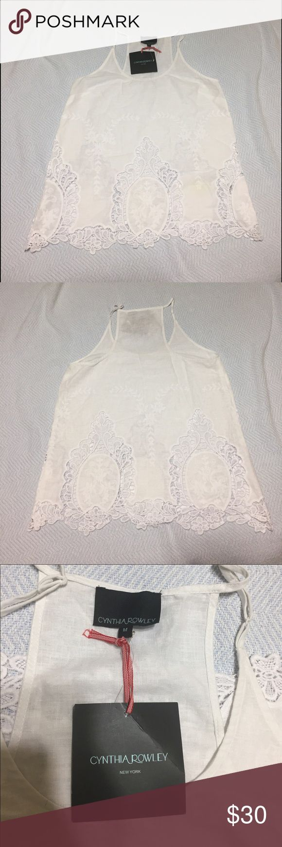 Cynthia Rowley sleeveless For an elegant and fresh outfit: Cynthia Rowley white embroidered sleeveless linen blouse. New. Size M Cynthia Rowley Tops Blouses