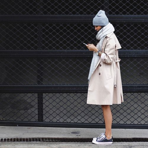 Simply–aesthetic:Trench And Sneakers