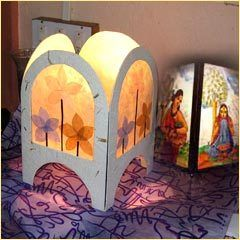 Flower mottled paper lampshades