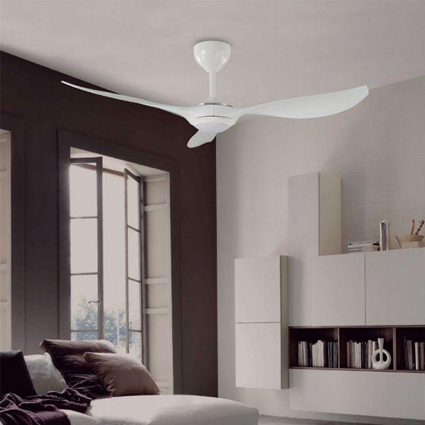 Ventilador de techo LED con motor DC. El cuerpo está fabricado en acero. Debido a que las palas son de ABS, ideal para ambientes de alta humedad, pues evita las deformaciones.