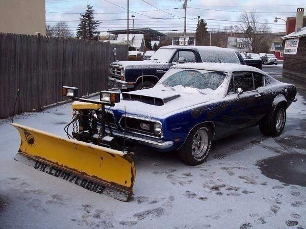 Classic Blue Muscle Car With Snow Plow Americanmusclecarsplymouth