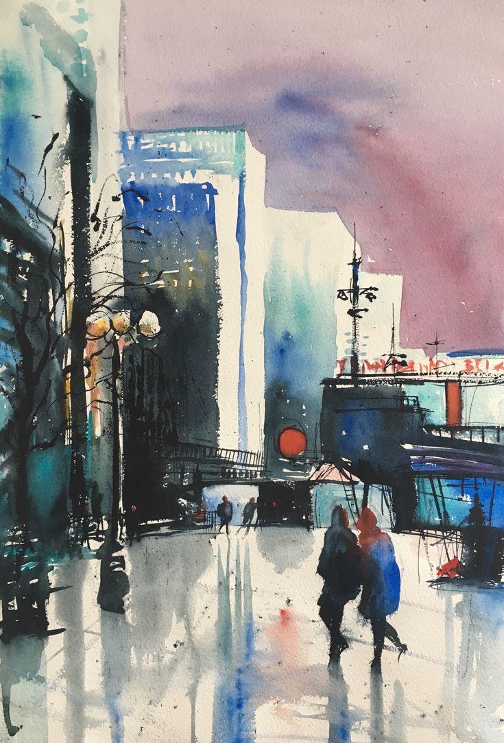 Hötorget, Stockholm, akvarell Stefan Gadnell