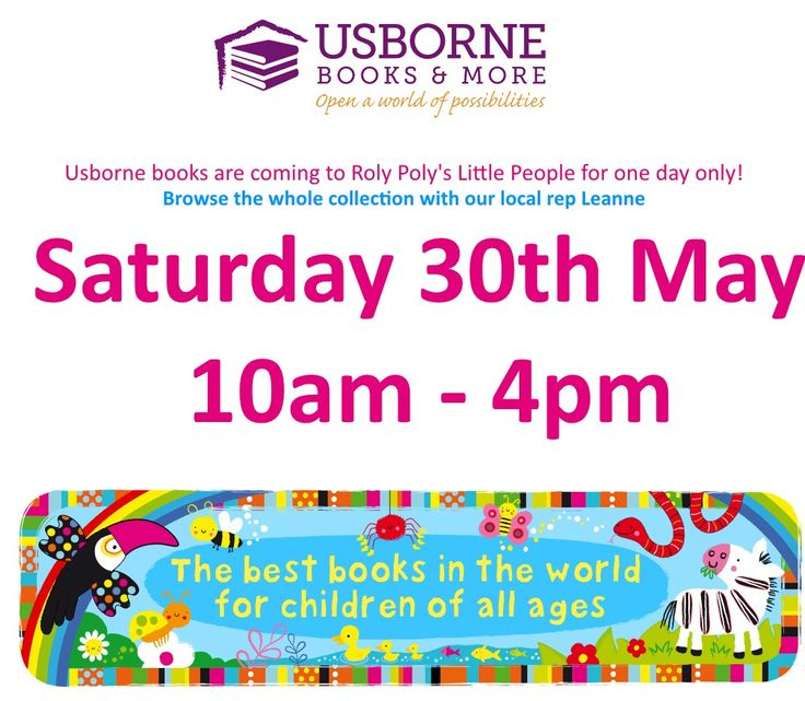 Usborne Book Day at Roly Poly's Little People - June 27 June at 10:00 At the Enterprise Shopping Centre, http://www.enterprise-centre.org/